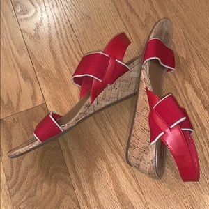 Coach and Four red wedge sandals